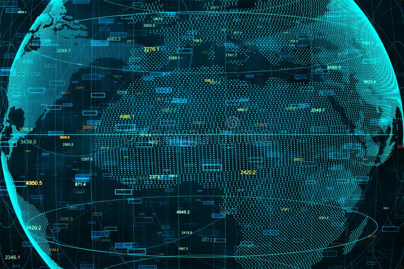 Global network and market concept. Creative digital globe with forex chart. Global network and market concept. 3D Rendering stock photo