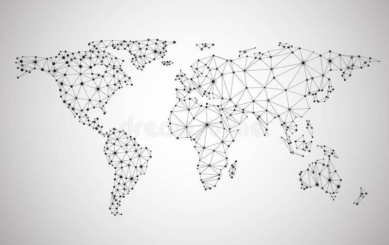 Global network mesh. Earth map. Global network mesh Social communications background. Earth map. Vector illustration. r royalty free illustration
