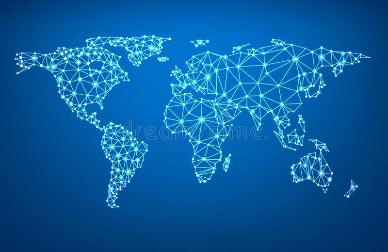 Global network mesh. Earth map. Global network mesh Social communications background. Earth map. Vector illustration. r royalty free illustration