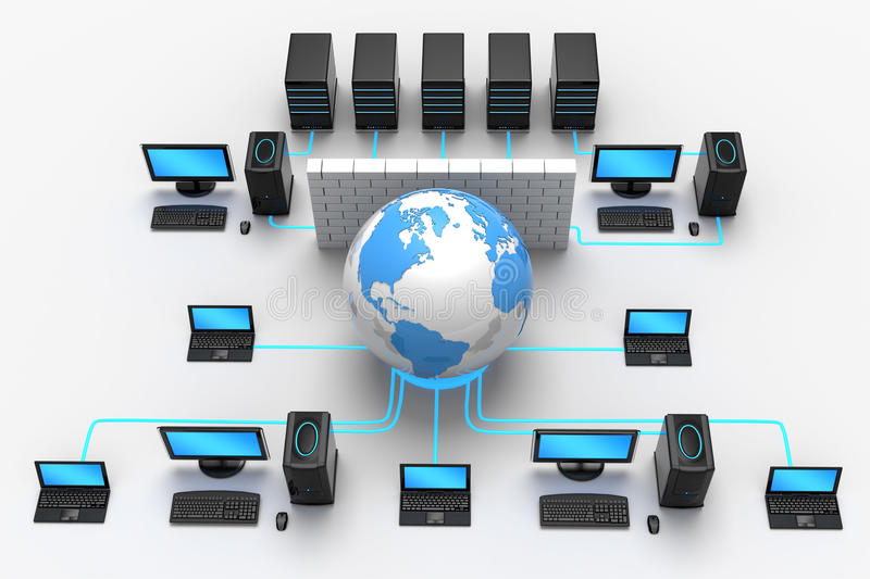 Global Network Protection. 3D illustration of computer global network, protected behind a firewall, isolated in white background
