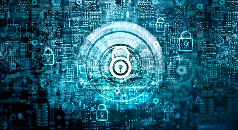 Global network security. Cyber Safety, Key, Closed padlock. Global network security concept. Cyber Safety. Key. Closed padlock on abstract motherboard circuit stock photography