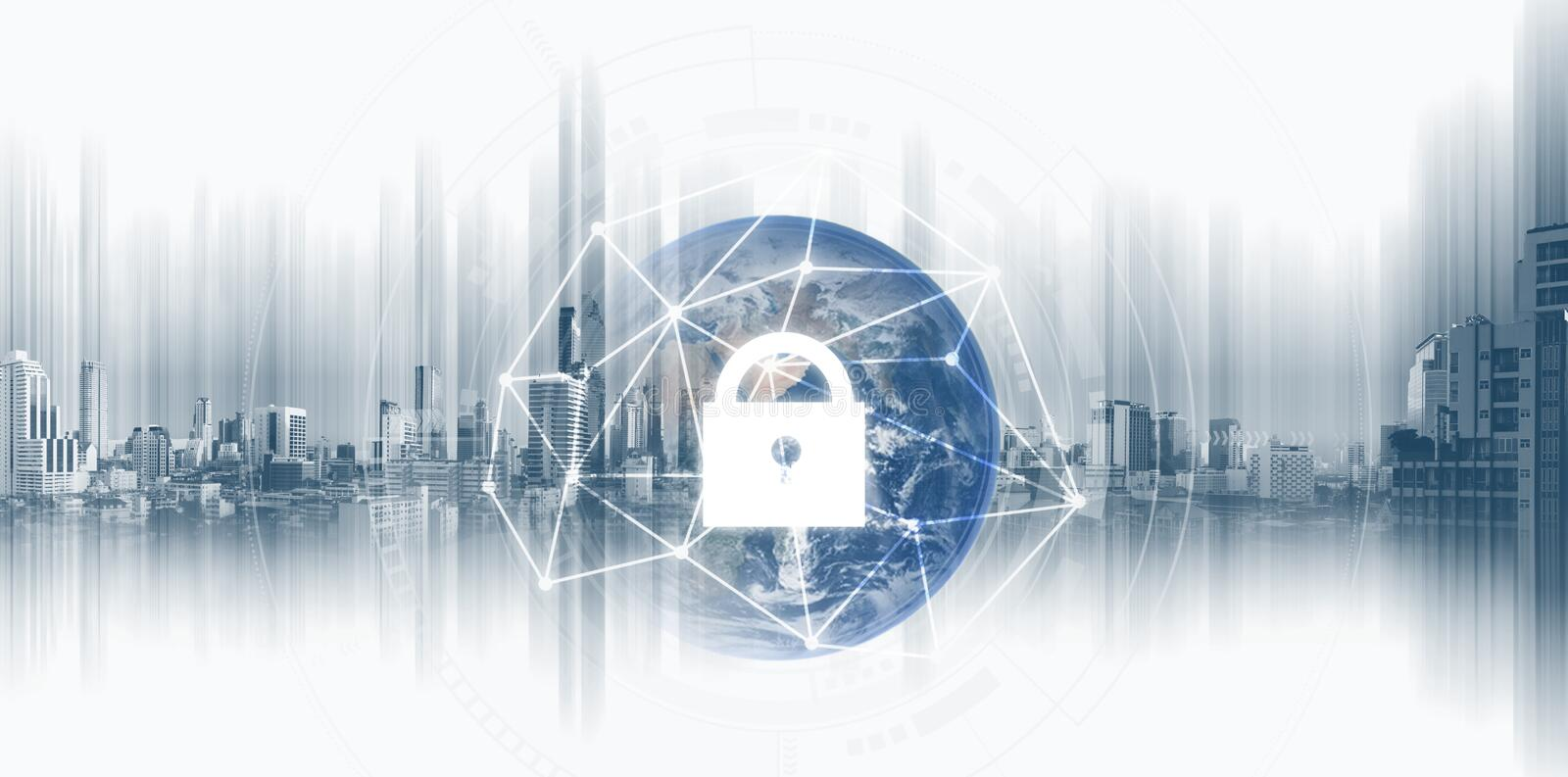 Global network security system technology. Globe and network connection and lock icon. Element of this image are published by NASA. Global network security royalty free stock image