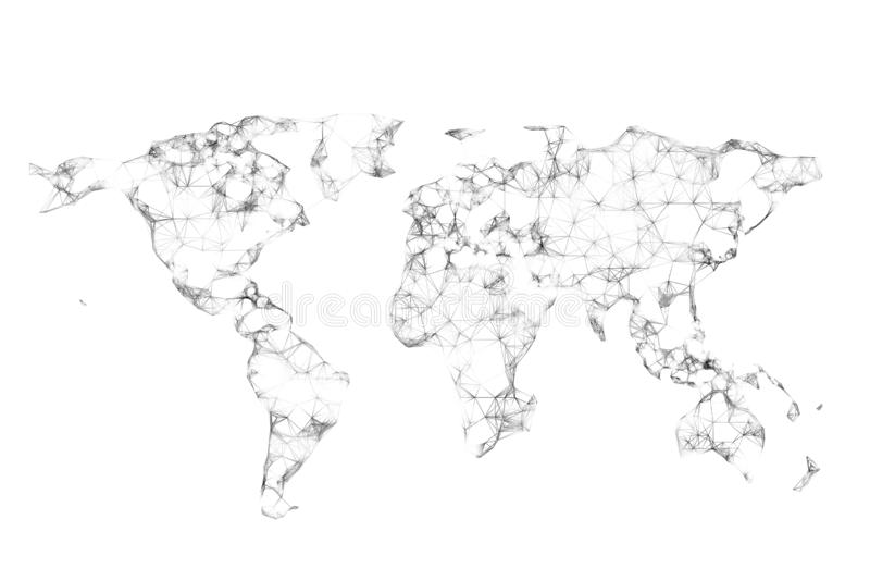 Connected world map polygon lines stock image