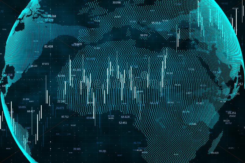 Global network and stats concept. Creative digital globe with forex chart. Global network and stats concept. 3D Rendering royalty free stock photography