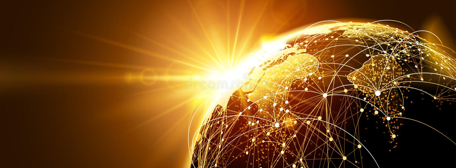 Global network with sunrise. Highly detailed planet earth with sunrise. Global network. Vector illustrationn vector illustration