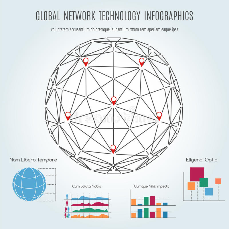 Global network technology infographics with sphere. And diagramm. Vector illustration royalty free illustration