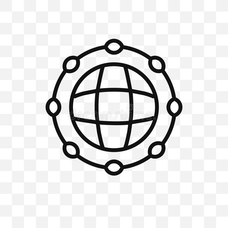 Global network vector linear icon isolated on transparent background, Global network transparency concept can be used for web and stock illustration