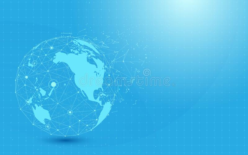 Global network with World map point and lines and triangles, point connecting network on blue background. vector illustration