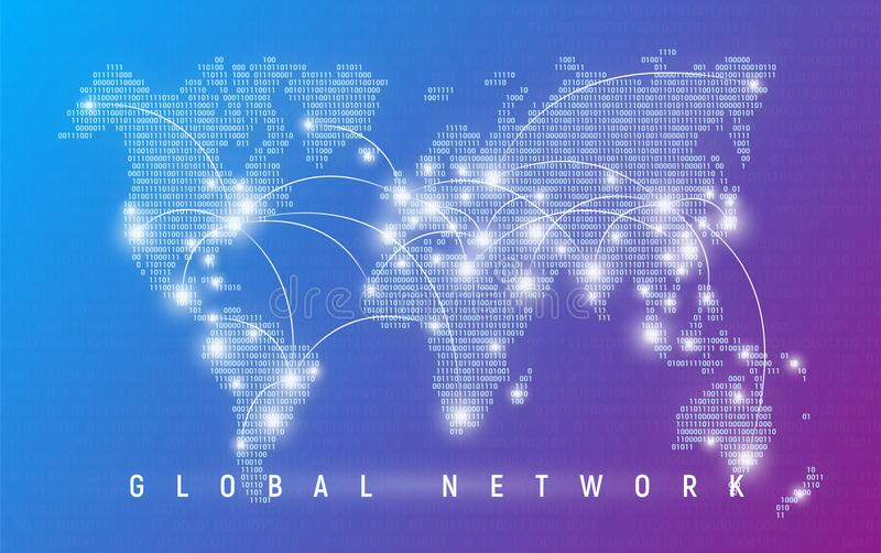 Global network, worldwide communication and connections, international business, digital technologies. Binary code styled vector royalty free illustration
