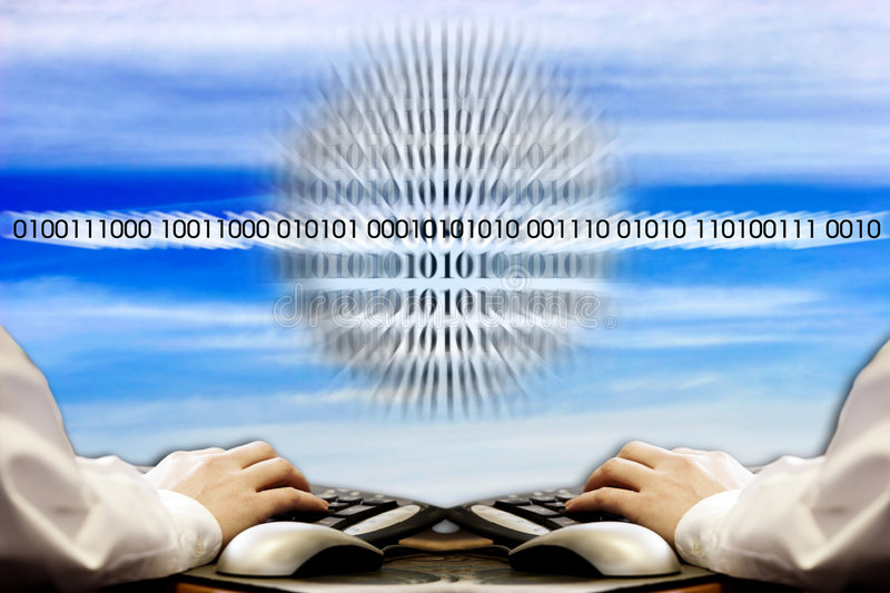 Global Networking. Hands typing at computer keyboards in front of a blue sky with Binary Code special effect superimposed (drop shadow added