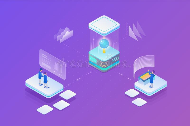 Global Neural Network Communication Isometric Flat Vector illustration royalty free illustration