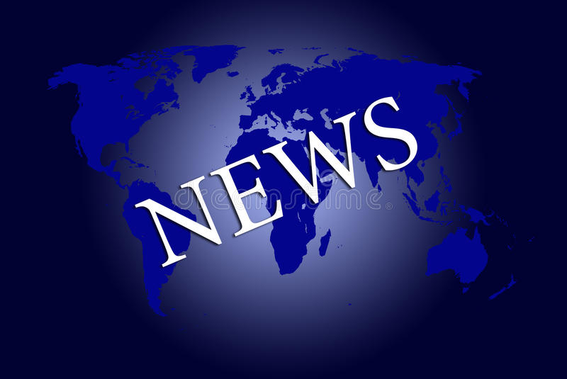 Global News. Word `News` written with white letters over world map in blue vector illustration