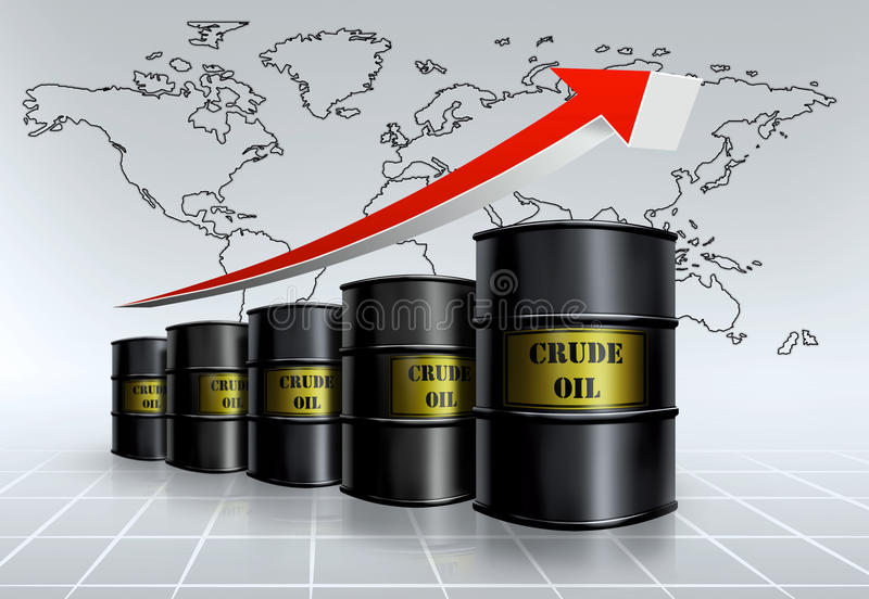 Global oil price. Crude oil barrel price growing vector illustration