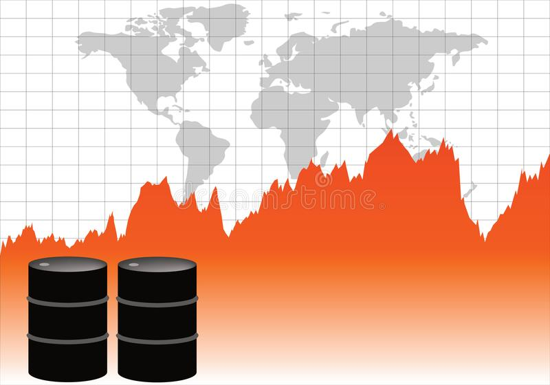 Global olje- handel i apelsin royaltyfri illustrationer