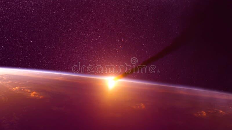 Global olycka - sammanstötning av en asteroid med jorden Meteorit som upp värmer som den nedgång in i atmosfären för jord` s royaltyfri foto