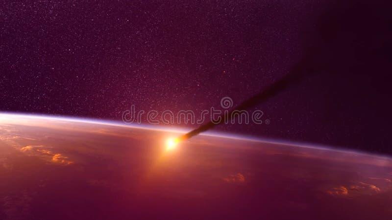 Global olycka - sammanstötning av en asteroid med jorden Meteorit som upp värmer som den nedgång in i atmosfären för jord` s arkivfoton