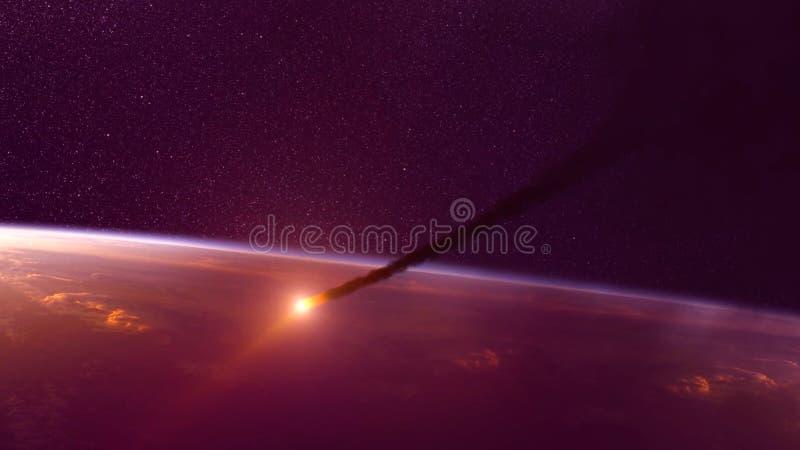 Global olycka - sammanstötning av en asteroid med jorden Meteorit som upp värmer som den nedgång in i atmosfären för jord` s fotografering för bildbyråer