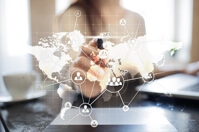 Global Outsourcing and Recruitment concept on virtual screen. Modern business solution. stock images