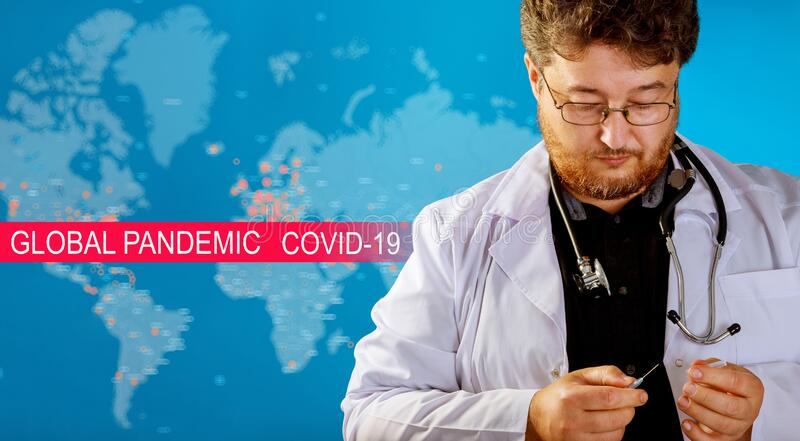 Global pandemic with coronavirus COVID-19 for Medical working with laboratory. Global pandemic with coronavirus COVID-19 coronavirus for medical working in stock photo