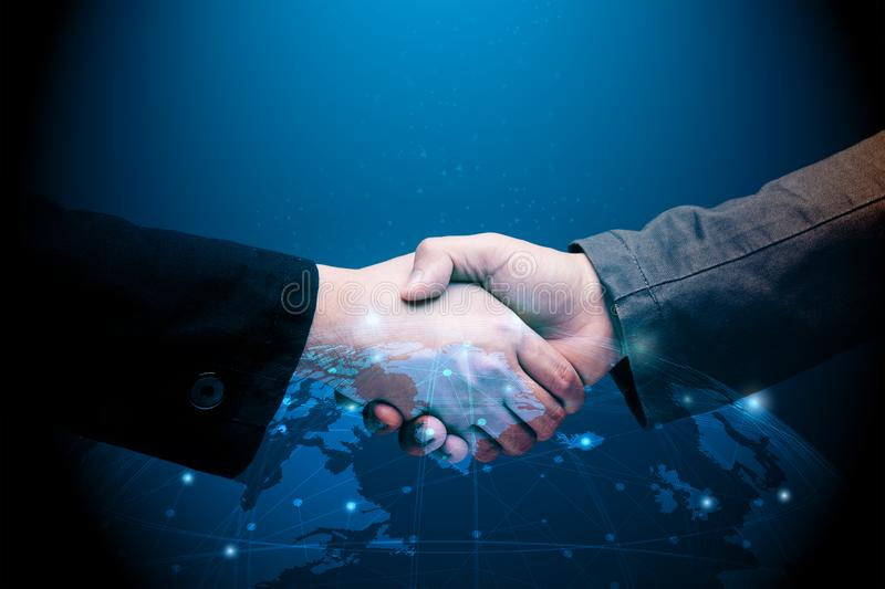 Global partnership concept. With businessman hand shake with world graphic illustration stock illustration