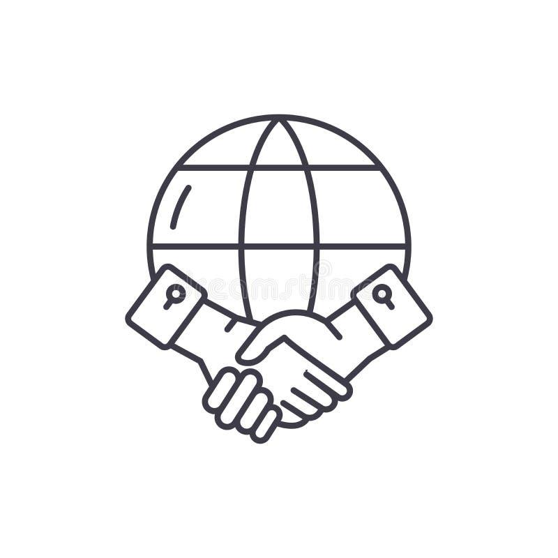 Global partnerskaplinje symbolsbegrepp Linjär illustration för global partnerskapvektor, symbol, tecken royaltyfri illustrationer
