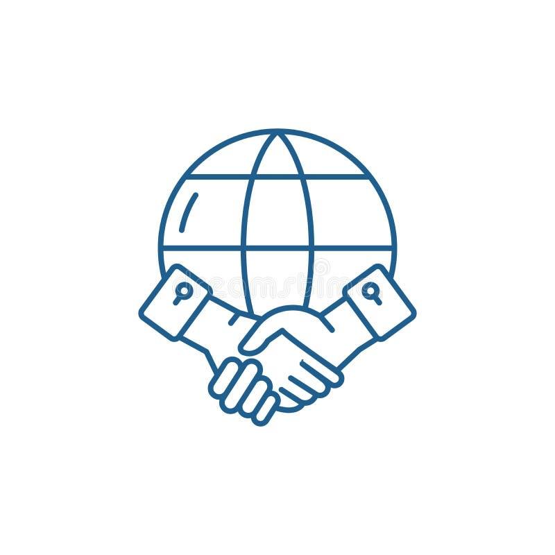 Global partnerskaplinje symbolsbegrepp Plant vektorsymbol för globalt partnerskap, tecken, översiktsillustration royaltyfri illustrationer