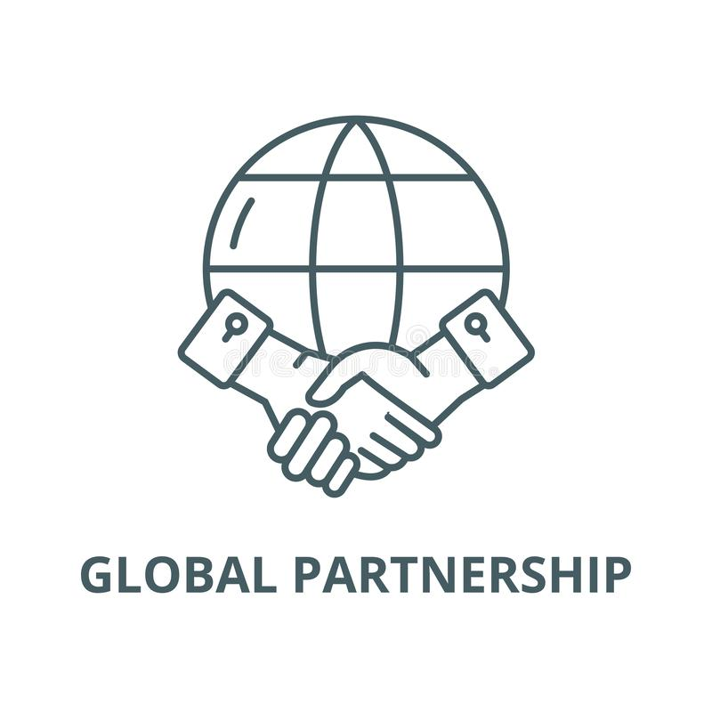 Global partnerskapvektorlinje symbol, linjärt begrepp, översiktstecken, symbol royaltyfri illustrationer