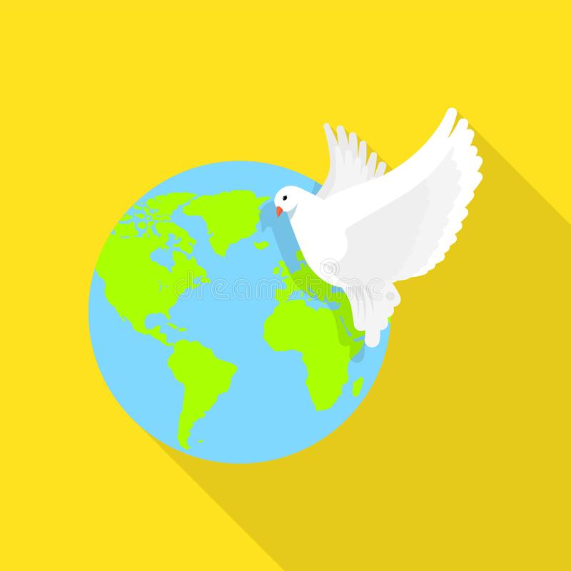 Global peace pigeon icon, flat style royalty free illustration