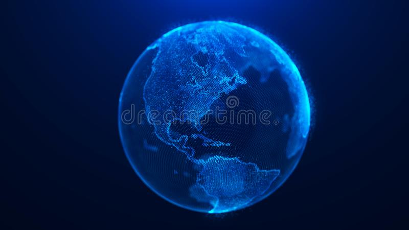 Global planet background. Global network planet Earth. 3D rendering. World map point. Global planet background. Global network planet Earth. World map point royalty free illustration