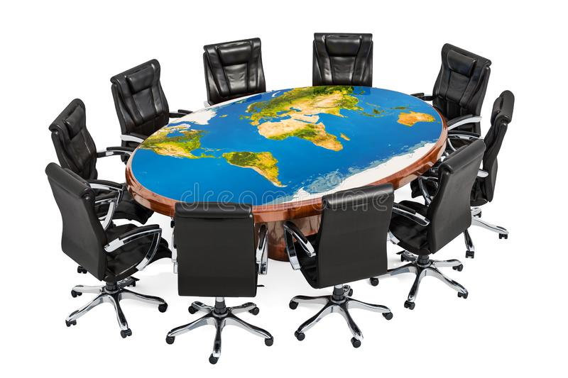 Global political meeting concept. Round table with texture of map Earth and armchairs around, 3D rendering stock illustration