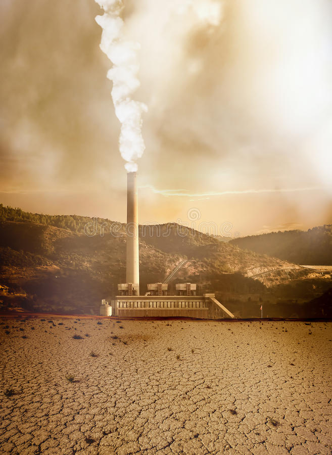Global pollution. Caused by industry and resulting destruction stock photo