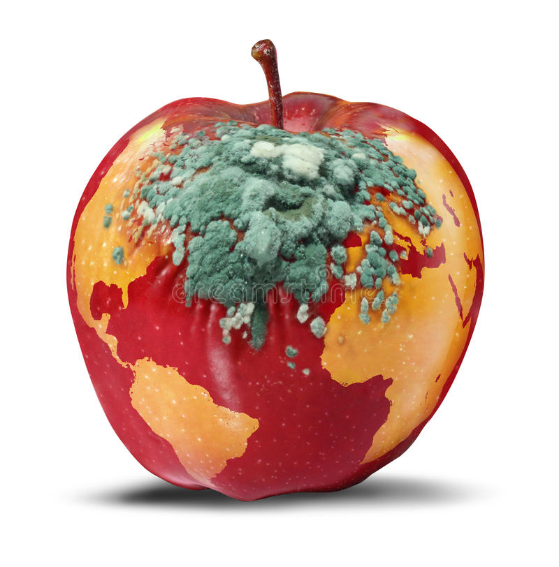 Global Problems. And environmental Issues concerning the health of the planet earth as a decaying red apple with a map of the world rotting with growing green vector illustration