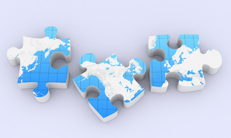 Global puzzles map. Global map puzzles comunication on white stock illustration