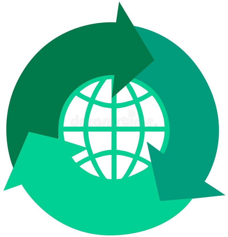 Global recicle las flechas stock de ilustración