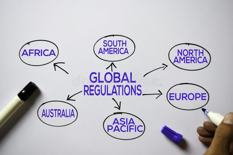 Global Regulations text with keywords isolated on white board background. Chart or mechanism concept royalty free stock images