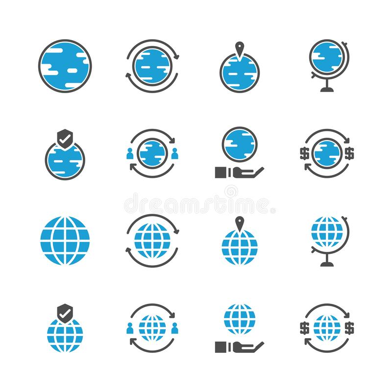 Global related in glyph icon set.Vector illustration royalty free illustration