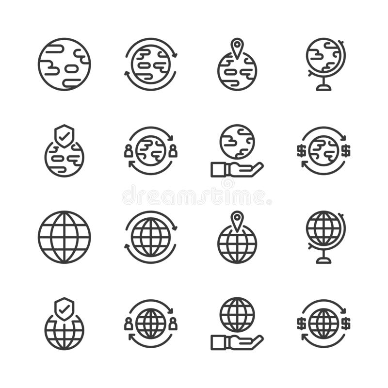 Global related icon set.Vector illustration royalty free illustration