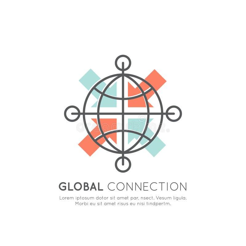 Global säker nätverksanslutning via world wide web, synkronisering för dataöverföring, isolerat objekt royaltyfri illustrationer