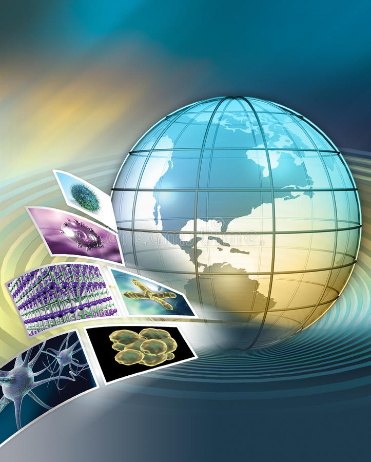 Global scientific research. 3D rendered global scientific research concept stock image