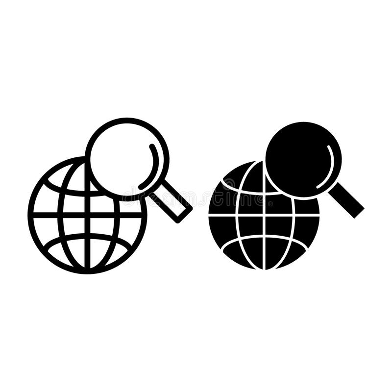 Global search line and glyph icon. Magnifying glass and globe vector illustration isolated on white. Searching outline vector illustration