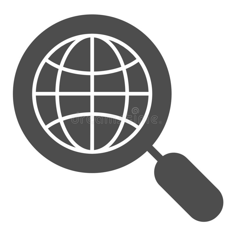 Global search solid icon. Earth and magnifying glass vector illustration isolated on white. Globe search glyph style royalty free illustration