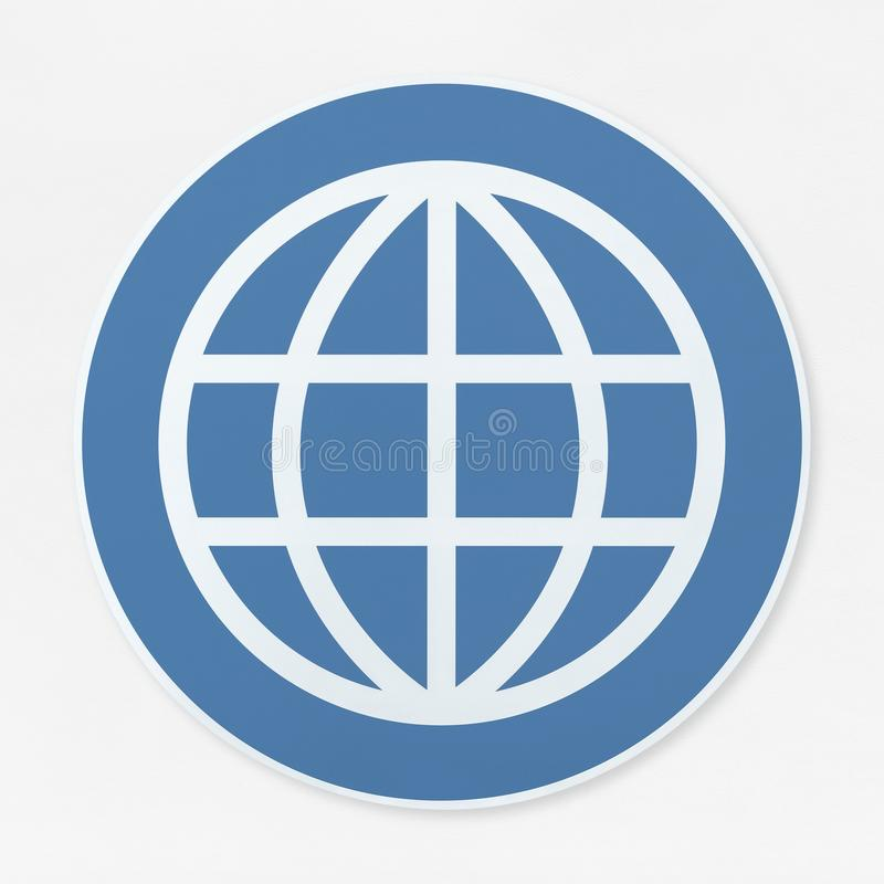 Global searching icon on white background stock illustration