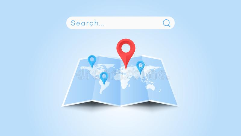 Global Searching On The Worldmap. Conceptual Flat Vector Illustration royalty free illustration