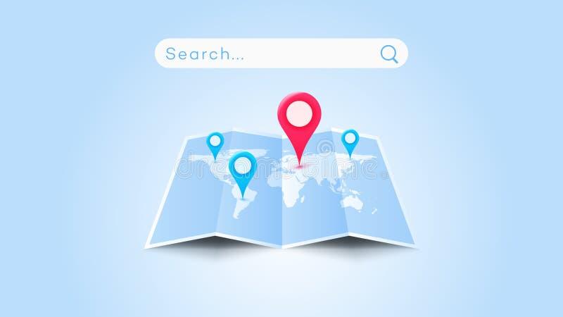 Global Searching On The Worldmap. Conceptual Flat Vector Illustration vector illustration