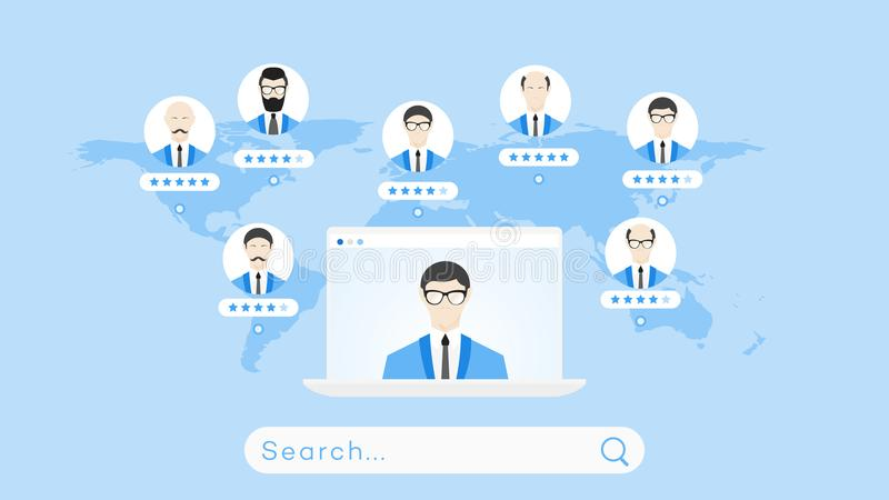 Global Searching On The Worldmap. Conceptual Flat Vector Illustration For Online Education Or Staff Recruitment stock illustration