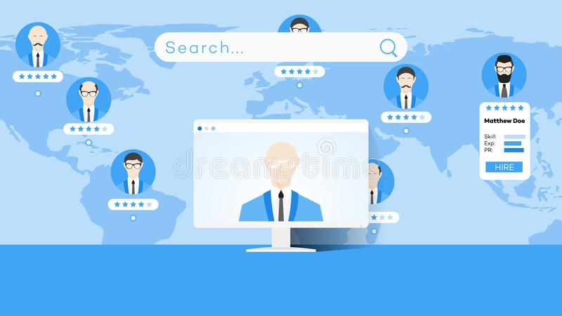 Global Searching On The Worldmap. Conceptual Flat Vector Illustration For Online Education Or Staff Recruitment royalty free illustration