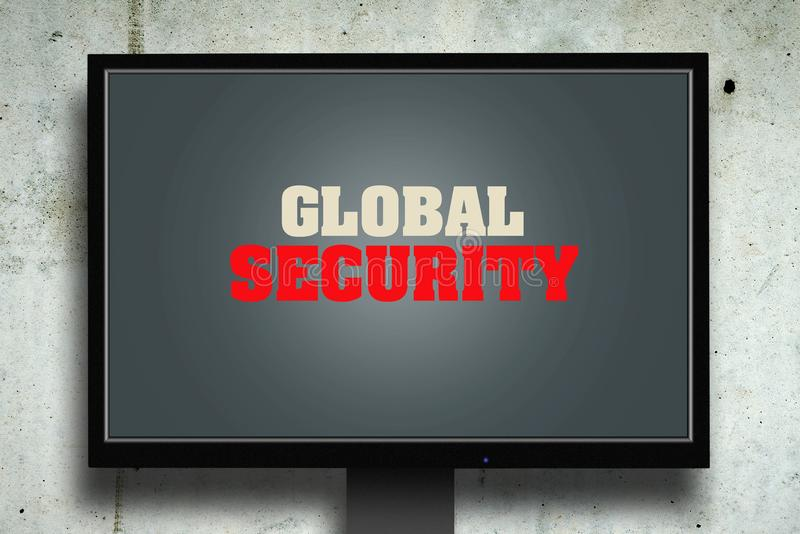 Global security. The inscription on the monitor. Gray concrete background. The concept of security. Computers. stock images