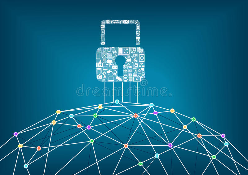 Global IT security protection concept of connected devices. World wide web background with lines connecting dots