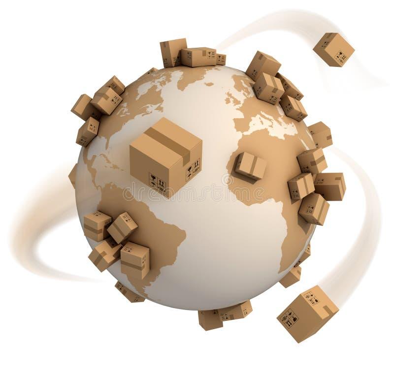Global shipment 3d concept stock illustration