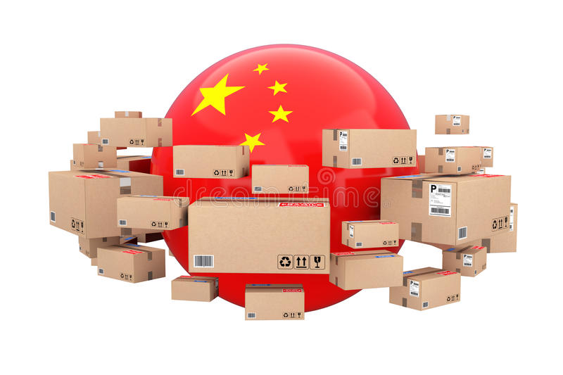 Global Shipping and Logistic Concept. Sphere with China Flag Surrounded by Cardboard Boxes with Parcel Goods. 3d Rendering stock illustration